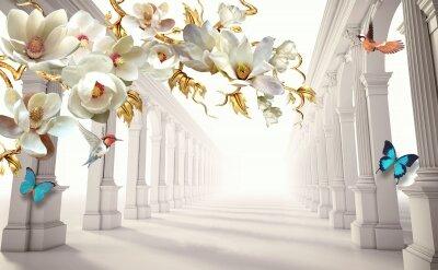 Фотообои Цветение среди колонн