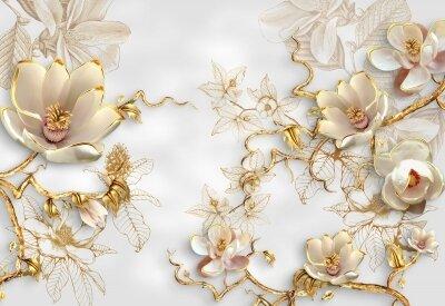 Фотообои Золото в цветах