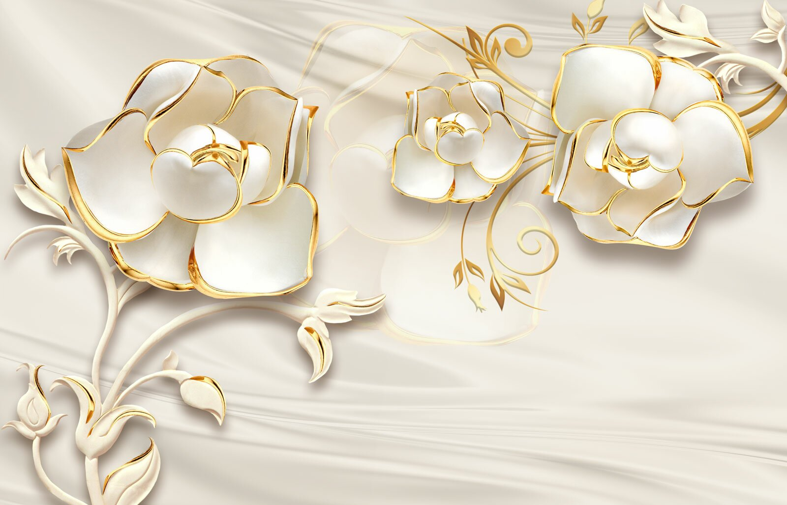 Фотообои Белое и золото