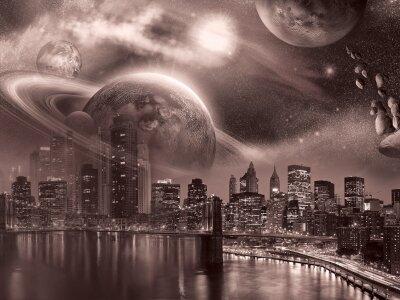 Фотообои город небо планеты