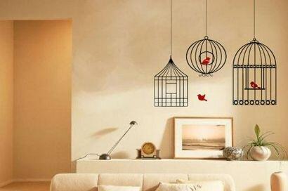 Дизайн комнаты с фотообоями Птицы в клетках