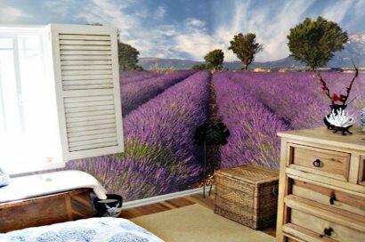 Лавандовое поле для дизайна спальни